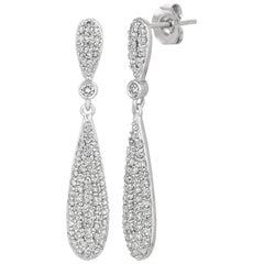 1.25 Carat Natural Diamond Earrings G SI 14 Karat White Gold