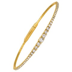1.25 Carat Natural Diamond Flexible Tennis Bracelet G SI 14 Karat Yellow Gold