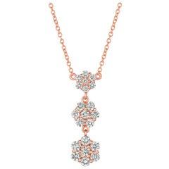 1.25 Carat Natural Diamond Flower Drop Necklace 14 Karat Rose Gold G SI