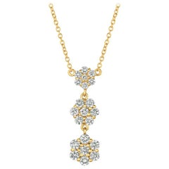1.25 Carat Natural Diamond Flower Drop Necklace 14 Karat Yellow Gold G SI