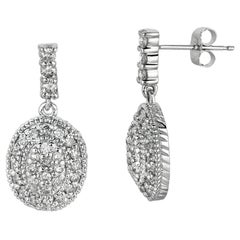 1.25 Carat Natural Diamond Oval Drop Earrings G SI 14 Karat White Gold