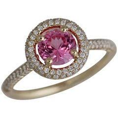 1.25 Carat Natural Fancy Pink Sapphire and Diamond Ring