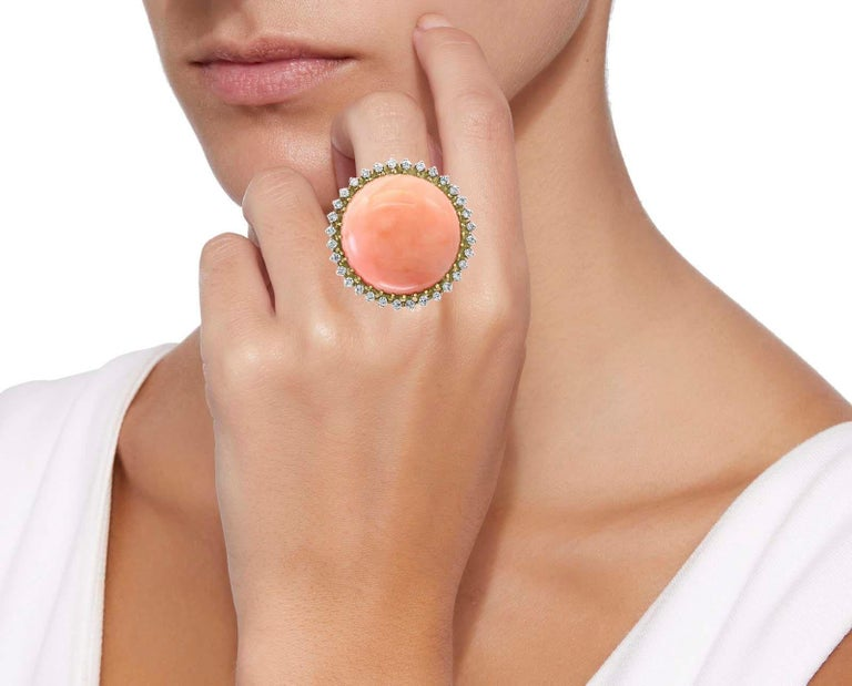 Women's 125 Carat Natural Pink Round Coral and Diamond Cocktail Ring 18 Karat Gold For Sale