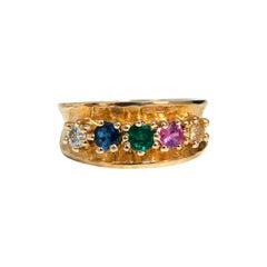 1.25 Carat Natural Sapphire Emerald and Diamond Mothers 5 Ring 14 Karat
