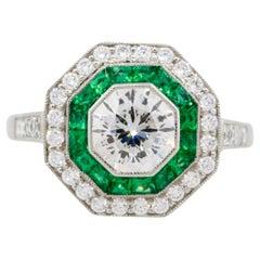 1.25 Carat Old Euro Cut Diamond Hexagonal Ring with Emeralds Platinum