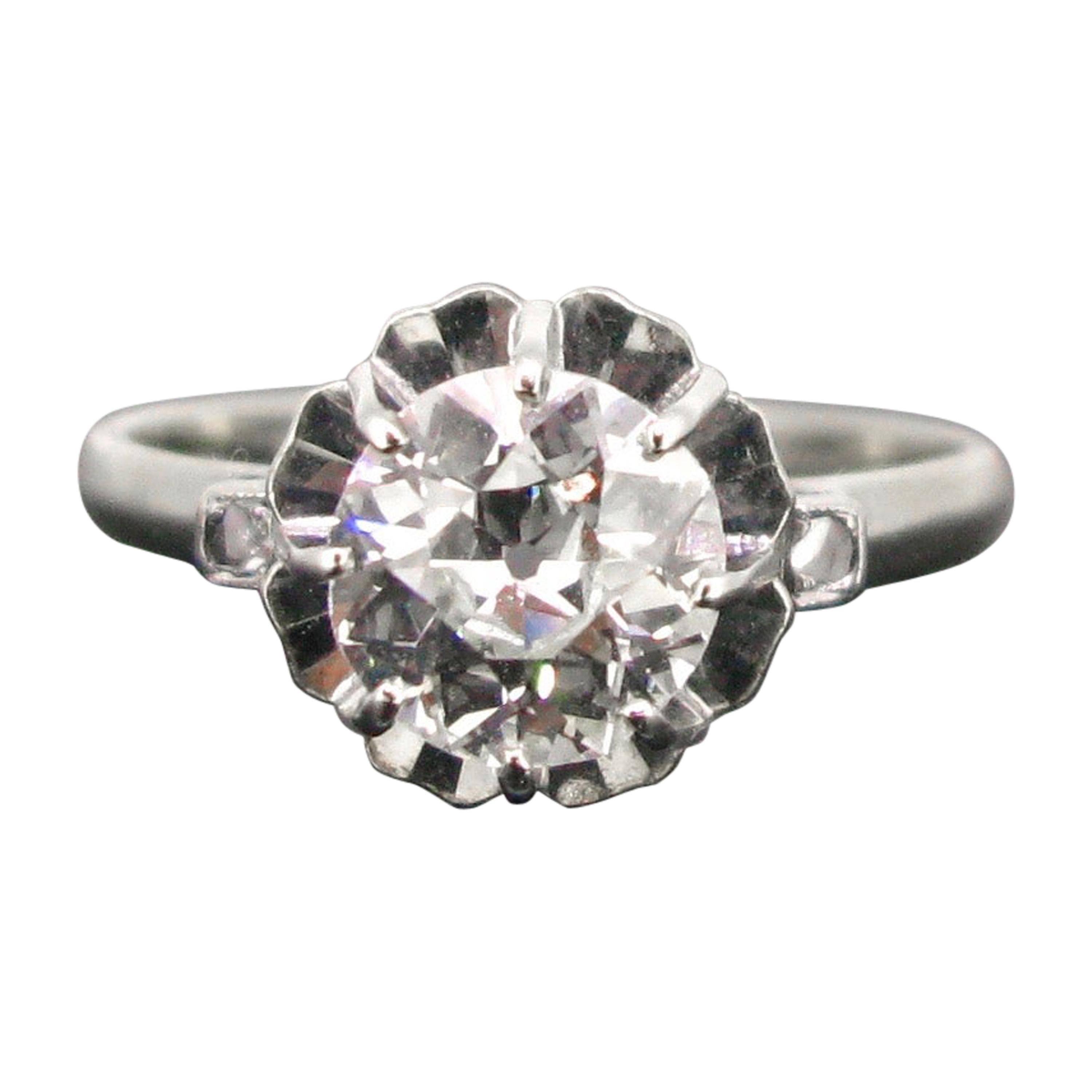 1.25 Carat Old European Cut Diamond Solitaire Art Deco Platinum Ring
