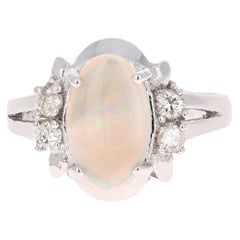 1.25 Carat Opal Diamond White Gold Ring