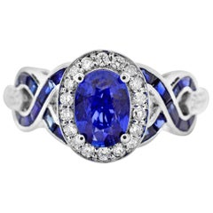 1.25 Carat Oval Blue Sapphire and Diamond 14K White Gold Cocktail Ring