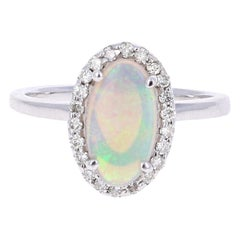 1.25 Carat Oval Cut Opal Diamond White Gold Cocktail Ring