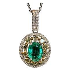 1.25 Carat Oval Emerald Diamond Halo Pendant