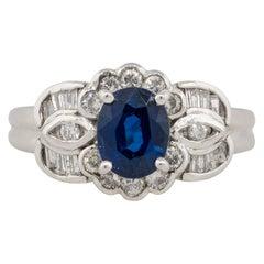 1.25 Carat Oval Sapphire Center Diamond Cocktail Ring Platinum in Stock