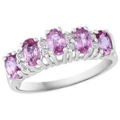 1.25 Carat Pink Sapphire and Diamond 14 Karat White Gold Ring, Estate