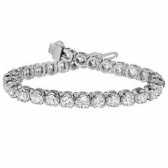 12.5 Carat Platinum White Diamond Tennis Bracelet