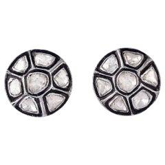 1.25 Carat Rose Cut Diamond Stud Earrings