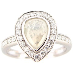 1.25 Carat Rose Cut Pear White Diamond Ring
