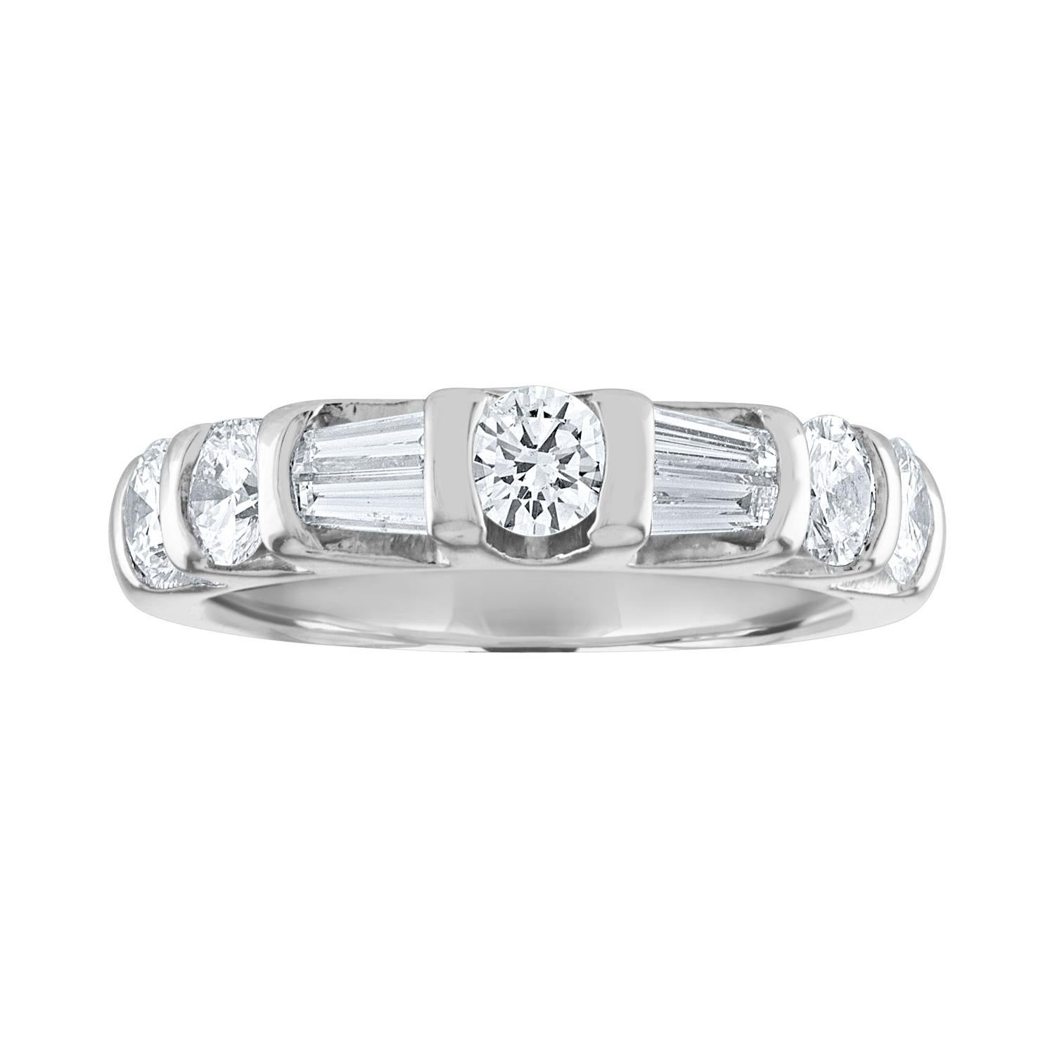 1.25 Carat Round And Baguette Diamond Half Band Platinum Ring