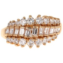 1.25 Carat Round Baguette Diamond 14 Karat Yellow Gold Cluster Ring