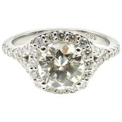 1.25 Carat Round Cut Centre Diamond with Halo Engagement Ring 14 Karat Gold