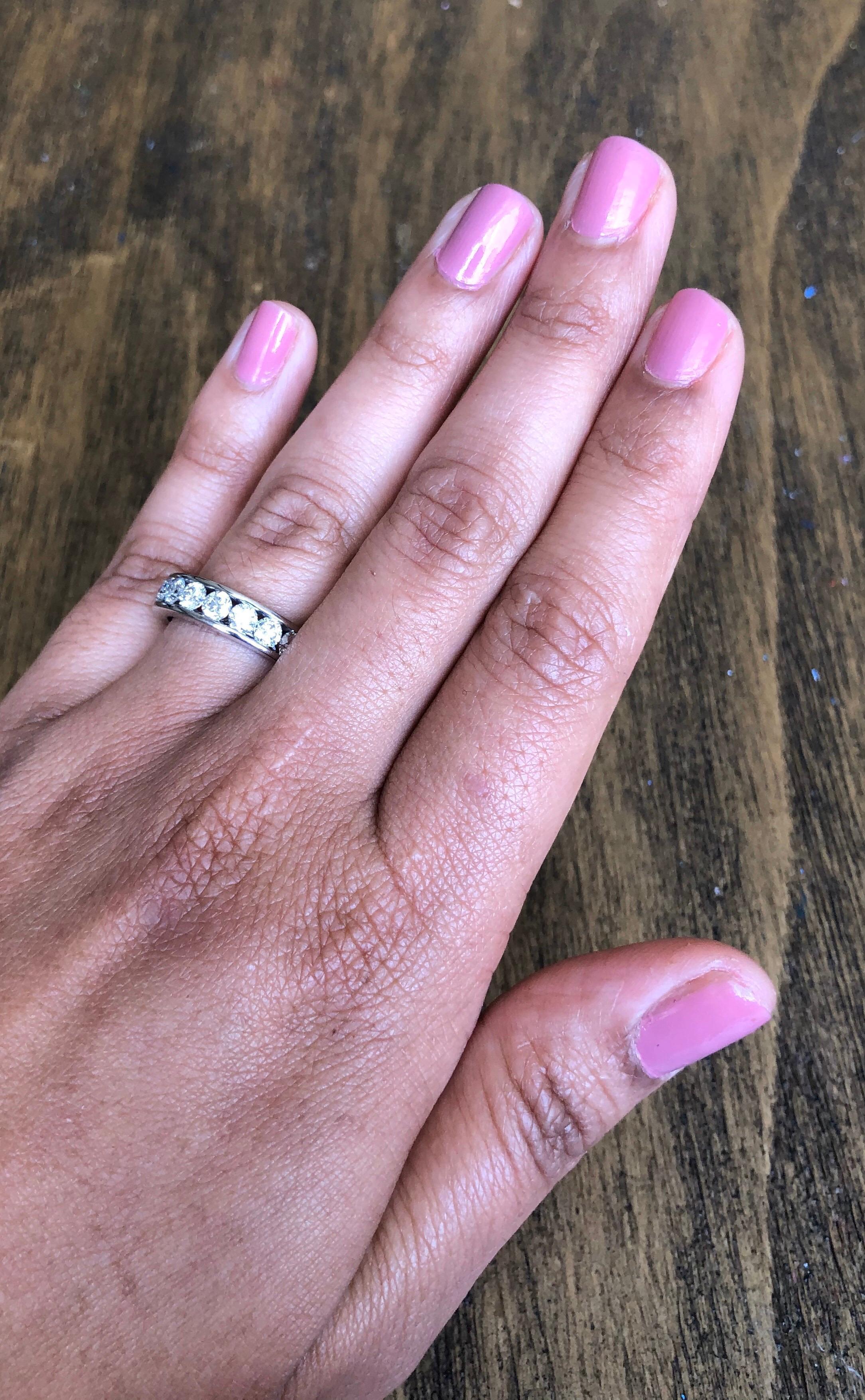 1.25 Carat Round Cut Diamond 14 Karat White Gold Band