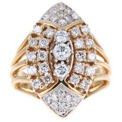1.25 Carat Round Cut Diamond 14 Karat Yellow Gold Cluster Ring