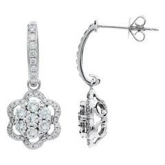 1.25 Carat Round Cut Diamond Earrings 18 Karat White Gold
