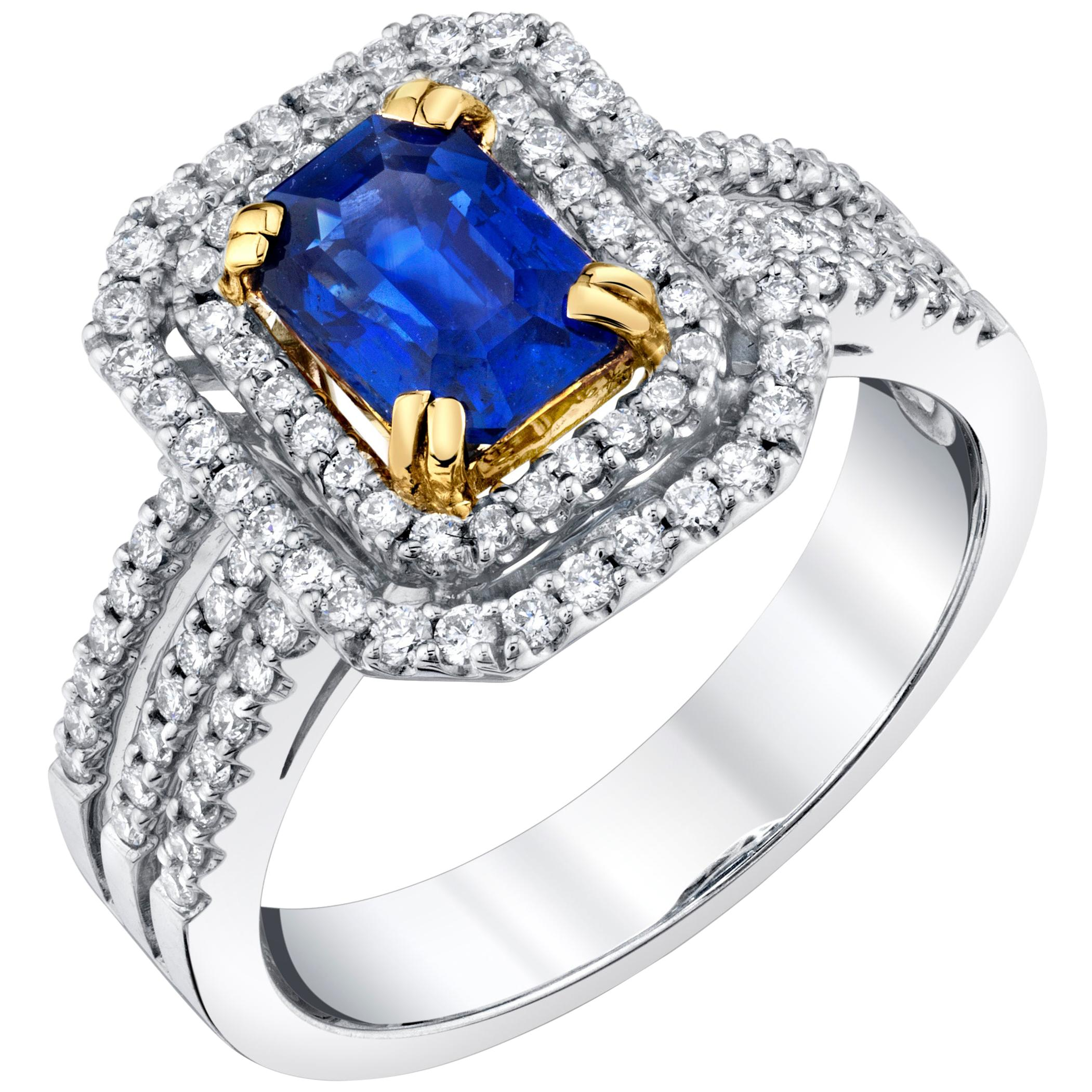 1.25 ct. Blue Sapphire, Diamond Halo 18k White Yellow Gold Engagement Band Ring