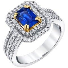 1.25 Carat Royal Blue Sapphire and Diamond 18 Karat White Gold Ring