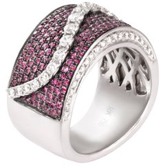 1.25 Carat Ruby Diamond Band 18 Karat White Gold Cocktail Ring