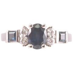 1.25 Carat Sapphire and Diamond Ring in 14 Karat White Gold