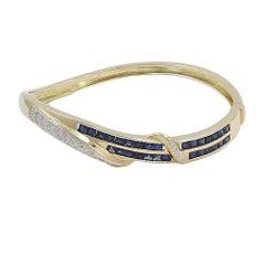 1.25 Carat Sapphire and Diamond Yellow Gold Bangle Bracelet