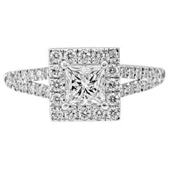 1.25 Carat Total Weight Princess Cut Diamond Halo Gold Engagement Bridal Ring