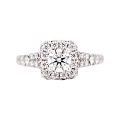 1.25 Carat Total Weight Round Diamond Engagement Ring with Diamond Halo