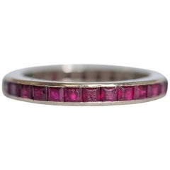 1.25 Carat Total Weight Ruby White Gold Wedding Band