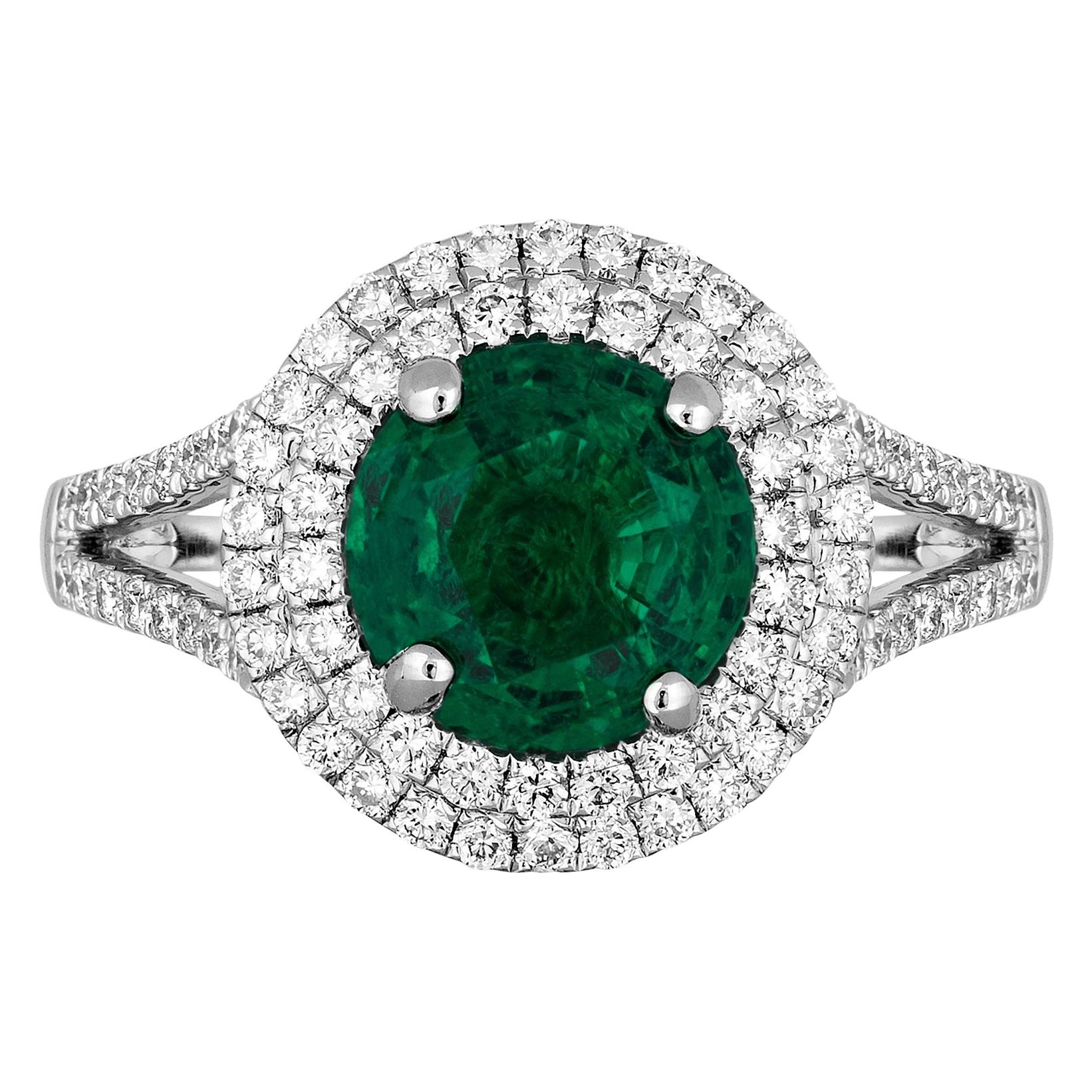 1.25 Carat Zambian Emerald Diamond Cocktail Ring