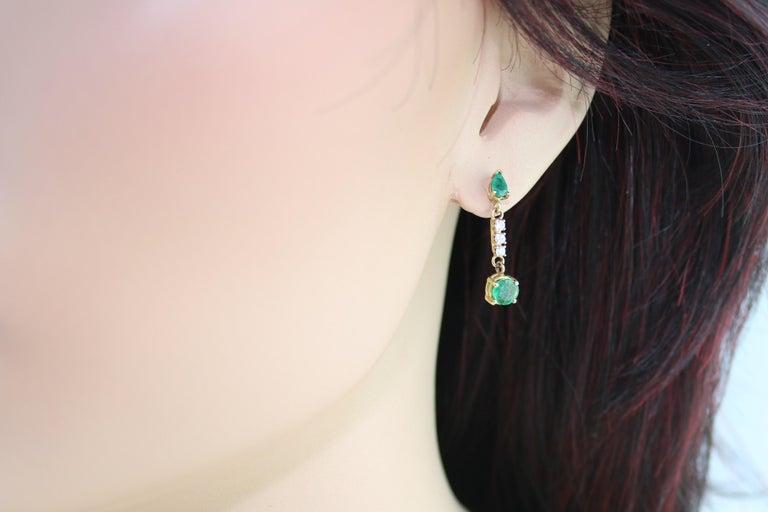 Round Cut 1.25 Carat Emerald and Diamond Gold Drop Earrings