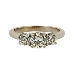 1.25 Cttw Three Stone Diamond 14k White Gold Engagement Ring