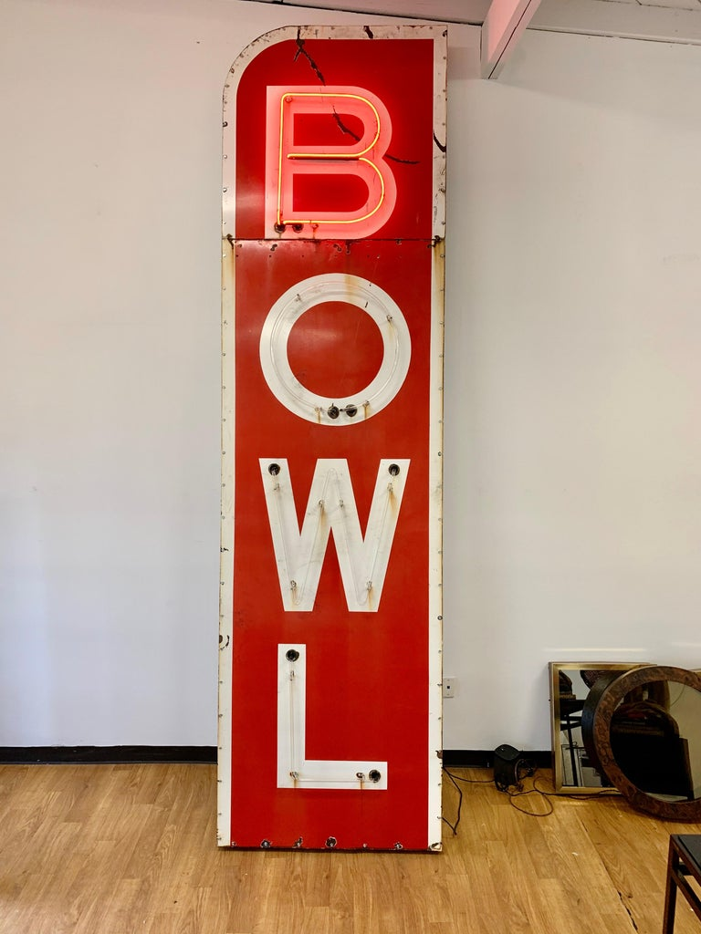 American 12.5 Foot Tall Vintage Neon Bowling Sign For Sale