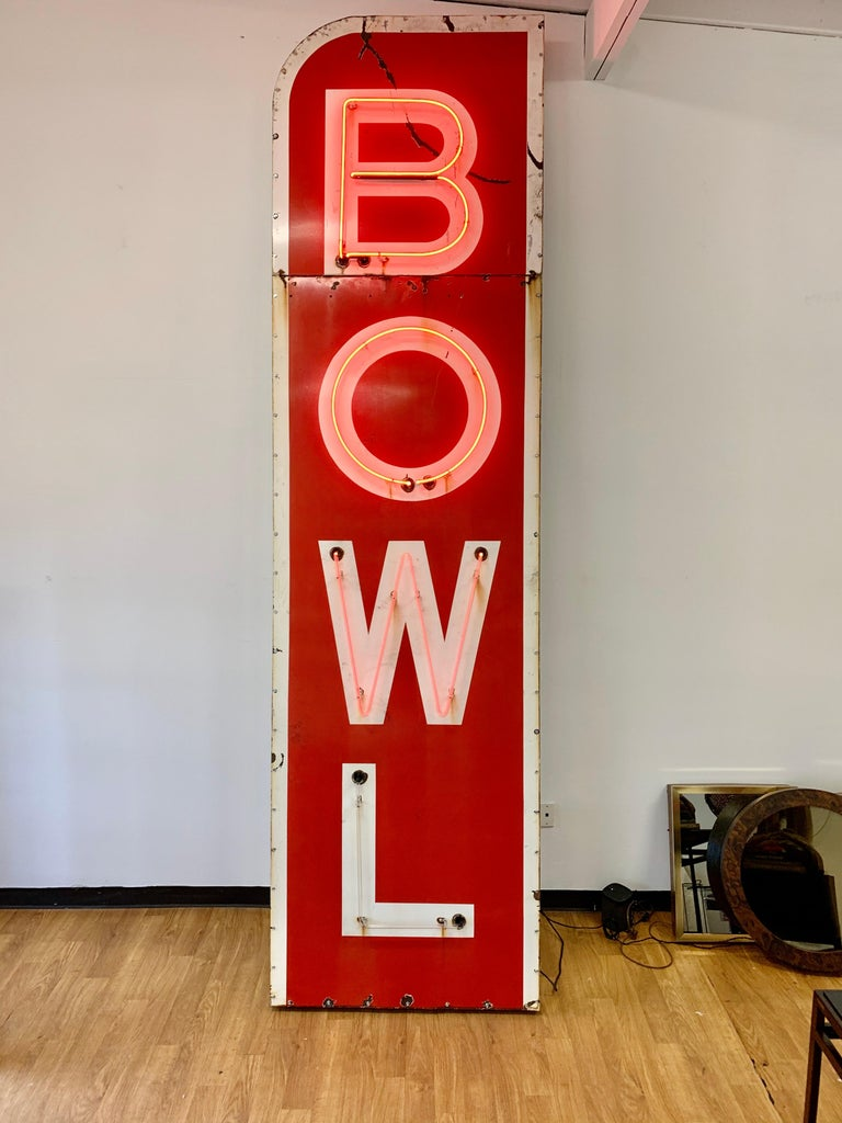 Mid-20th Century 12.5 Foot Tall Vintage Neon Bowling Sign For Sale