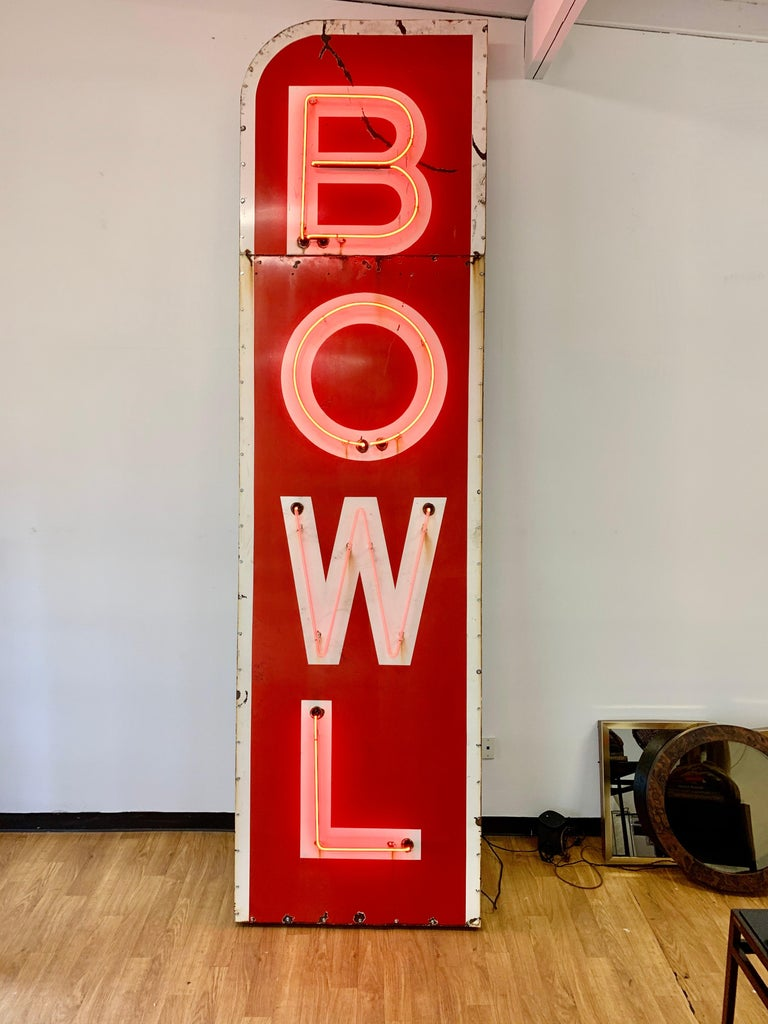 Aluminum 12.5 Foot Tall Vintage Neon Bowling Sign For Sale