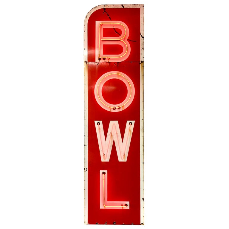 12.5 Foot Tall Vintage Neon Bowling Sign For Sale