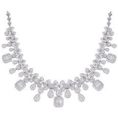 12.50 Carat Diamond 18 Karat White Gold Statement Necklace