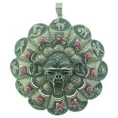 12.50 Carat Diamond Skull Horoscope Pendant in Oxidized Sterling Silver 14K Gold