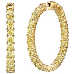 12.50 Carat Fancy Yellow Diamond Hoops