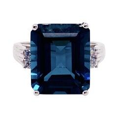 12.50 Carat London Blue Topaz and Diamond Ring 14 Karat White Gold Midnight Blue