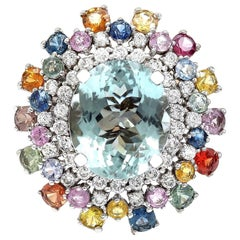 12.50 Carat Natural Aquamarine 18 Karat Solid White Gold Diamond Ring