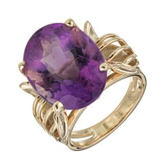 12.50 Carat Oval Amethyst Gold Cocktail Ring
