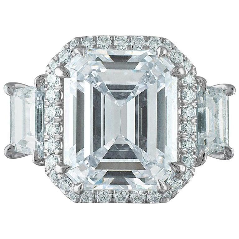 12.50 Carat Platinum Ring, Center Emerald Cut 10.06 H VS1, GIA Certified Diamond For Sale