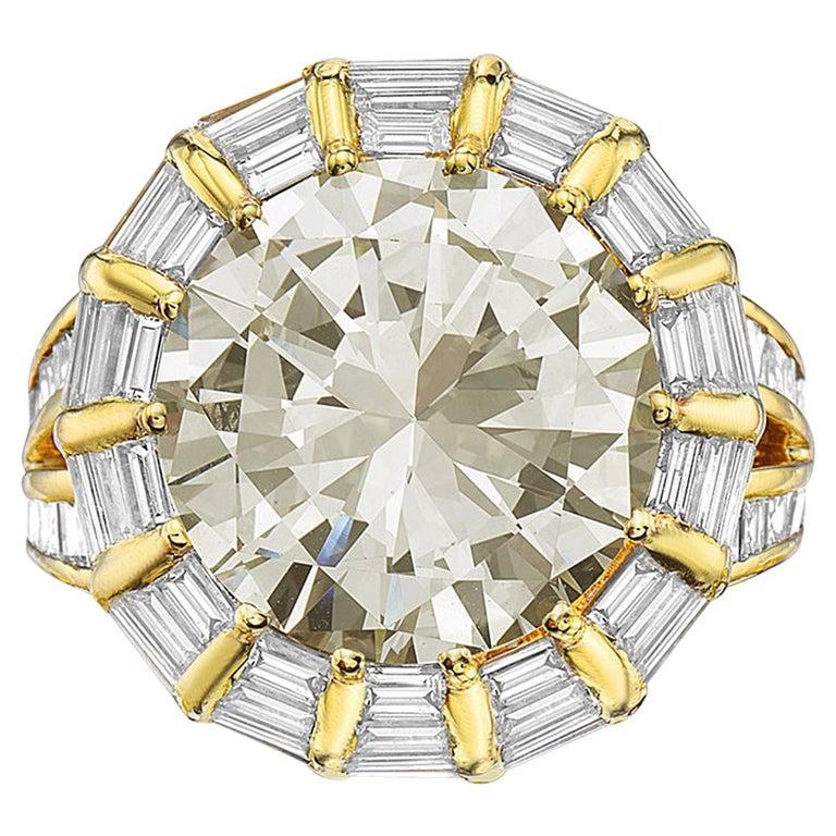 12.50 Carat Round Brilliant Diamond Cocktail Ring by Nardi
