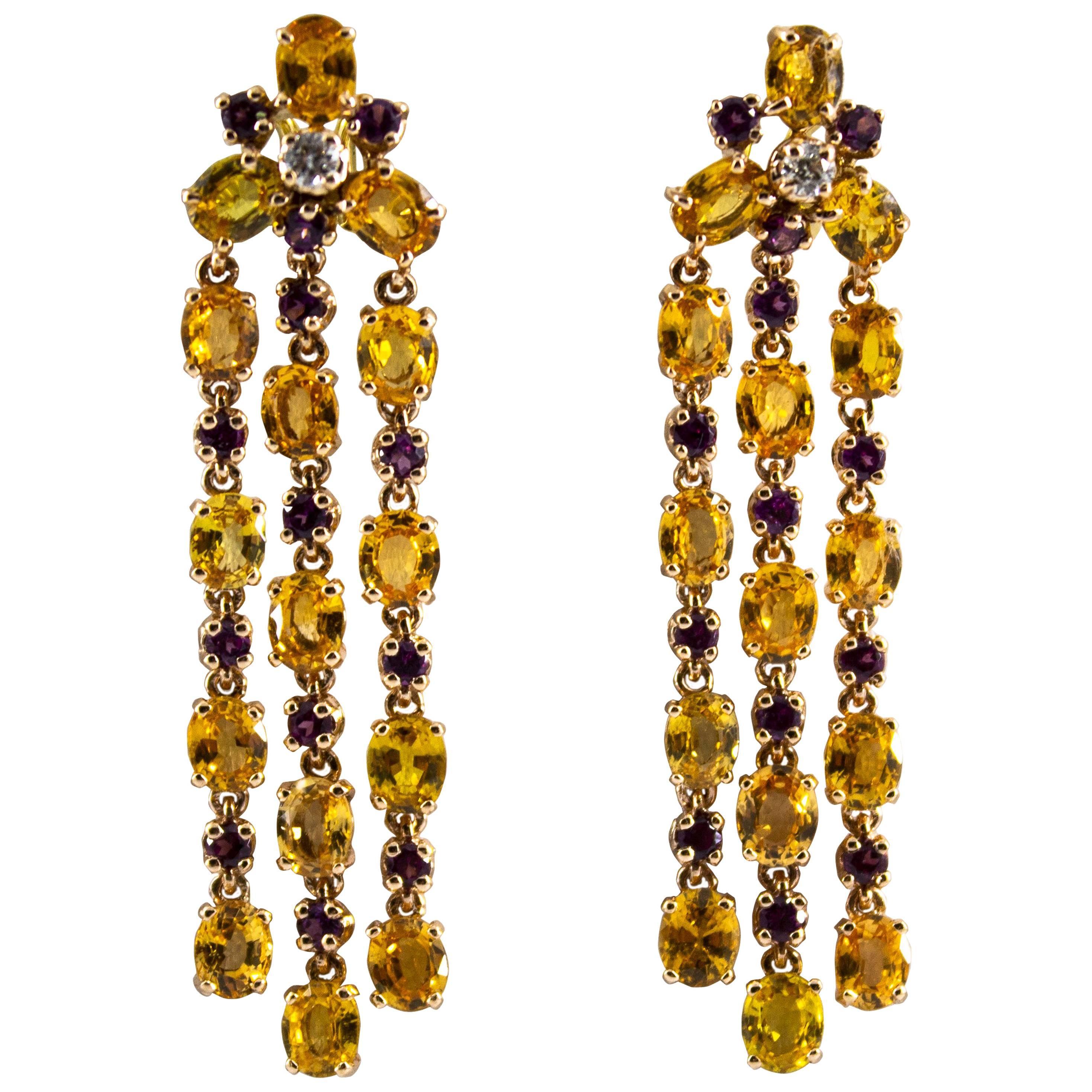 12.50 Carat Yellow Sapphire Rhodolite White Diamond Yellow Gold Clip-On Earrings