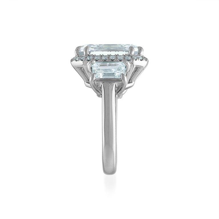 Contemporary 12.50 Carat Platinum Ring, Center Emerald Cut 10.06 H VS1, GIA Certified Diamond For Sale